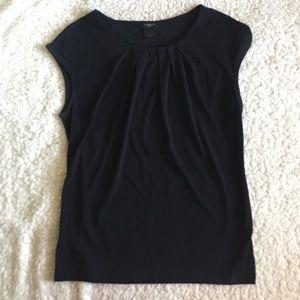 Ann Taylor Cap Sleeve Black Shirt